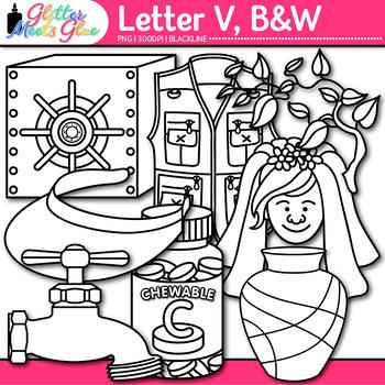 Letter V Alphabet Clip Art | Teach Phonics, Recognition, & Identification | B&W