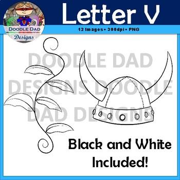 Letter V Clip Art (Vine, Vacuum, Vest, Volcano, Vampire, Viking Helmet)