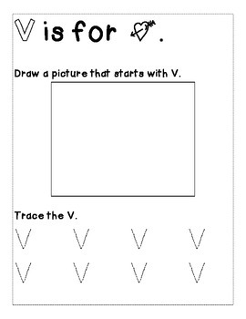 Letter V Color and Trace AlphaBook