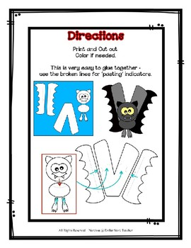 Letter V Craftivity - Vampire Bat - Zoo Phonics Inspired - Color & BW Versions