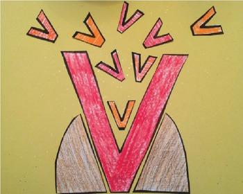 Letter V Cut/Paste Craft Template - V is for Volcano