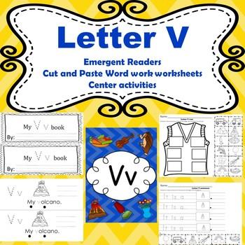 Letter V activities (emergent readers, word work worksheets, centers)