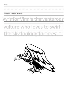 Letter V for Vulture Handwriting Practice and Questions!