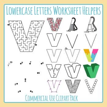 Letter V (Lowercase) Worksheet Helper Clip Art Set For Commercial Use