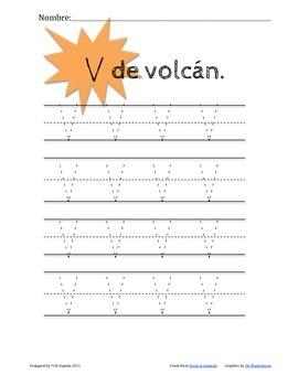 V de Volcán-Letter V Practice Packet-Spanish