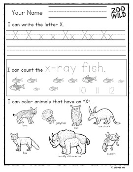 Letter V, W, X, Y & Z Practice Page -- Zoo Morning Work -- Homeschool