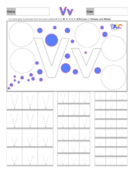 Letter Vv Printing and Picture Find Worksheets