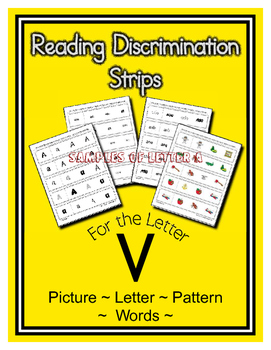 Letter V Reading Discrimination Strips for Fluency and Rec