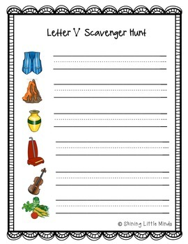 Letter V Scavenger Hunt