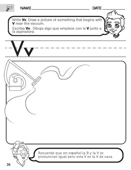 Letter V Sound worksheet with Instructions translated into Spanish for Parents
