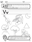 Letter V Sound worksheet with Instructions translated into