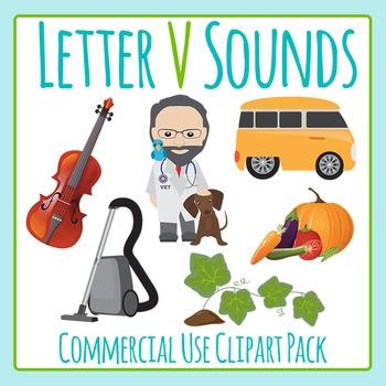 Letter V Sounds Clip Art Pack for Commercial Uses