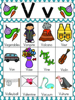 words with the letter v letter v vocabulary cards by the tutu teachers 25772 | original 2155490 2