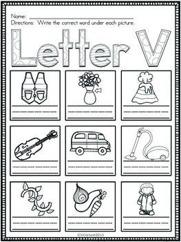 Letter V Vocabulary Cards