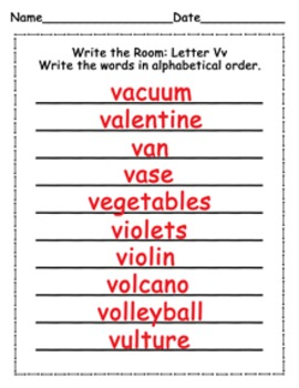 Letter V Words Write the Room Activity