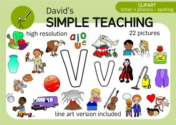 Letter V phonics - spelling clipart with free preview