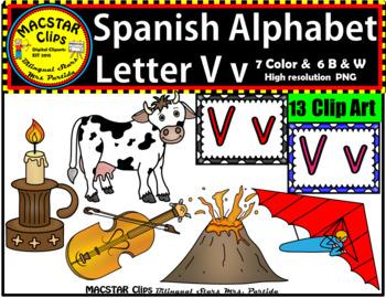 Letter V v Spanish Alphabet Clip Art   Letra Vv Personal and Commercial Use