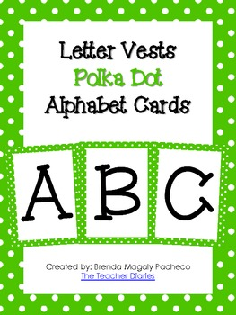 Letter Vests Alphabet Cards (Small Polka Dot - Green)