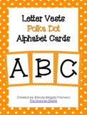 Letter Vests Alphabet Cards (Small Polka Dot - Orange)