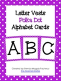 Letter Vests Alphabet Cards (Small Polka Dot - Purple)