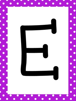 Letter Vests Alphabet Cards (Small Polka Dot - Purple)