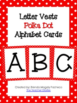 Letter Vests Alphabet Cards (Small Polka Dot - Red)