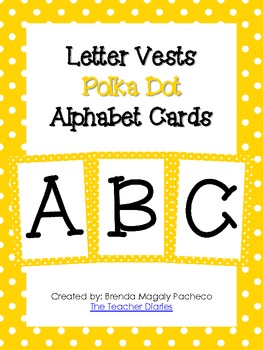 Letter Vests Alphabet Cards (Small Polka Dot - Yellow)
