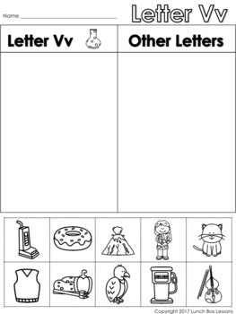 Letter Vv Beginning Sound Sort/Phonemic Awareness