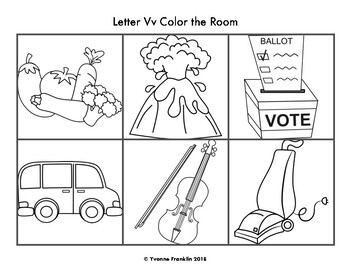Letter Vv Color, Trace & Write the Room