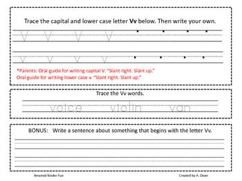 Letter Vv Homework Menu