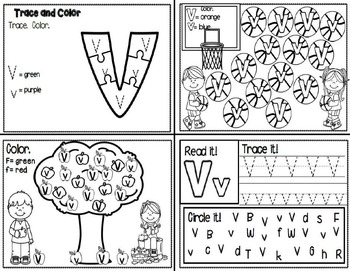Letter Vv- Interactive Activities Booklet