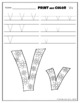 Letter Vv Printing and Pattern Coloring Worksheets