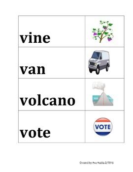 Letter Vv Vocabulary Cards