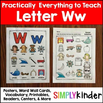 Letter W   Alphabet Printables and Centers