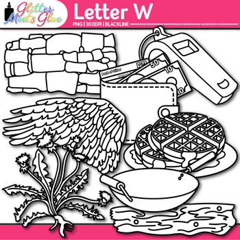 Letter W Alphabet Clip Art | Teach Phonics, Recognition, & Identification | B&W