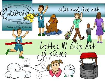 Letter W Clip Art - Color and Line Art 16 pc set
