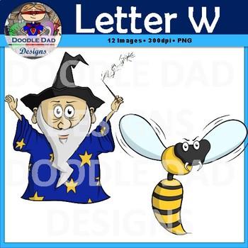 Letter W Clip Art (Wasp, Web, Watermelon, Whale, Wizard, Window)
