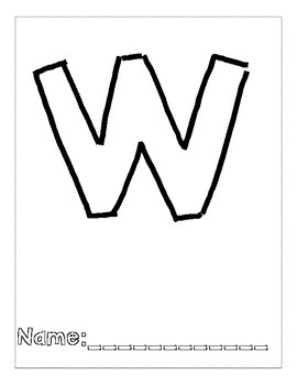 Letter W Color and Trace AlphaBook