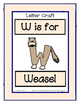 Letter W Craftivity - Weasel - Zoo Phonics Inspired - Color & BW Versions