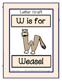 Letter W Craftivity - Weasel - Zoo Phonics Inspired - Colo