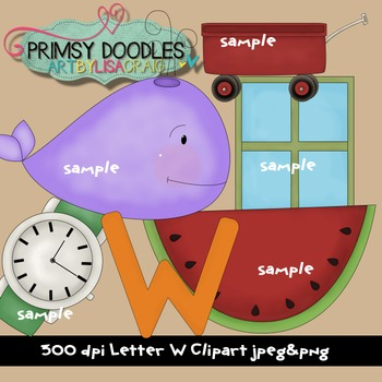 Letter W Early Learning Clipart