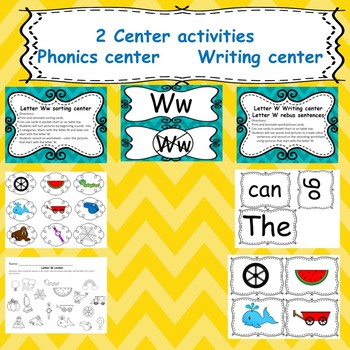 Letter W activities (emergent reades, word work worksheets, centers)
