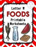 Letter W Foods Printable Worksheets