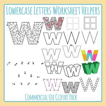 Letter W (Lowercase) Worksheet Helper Clip Art Set For Commercial Use
