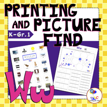 Letter Ww Printing and Picture Find Worksheets