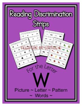 Letter W Reading Discrimination Strips for Fluency and Recognition ( Edmark )