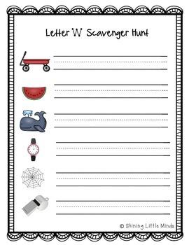 Letter W Scavenger Hunt