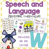 Letter W Speech and Language Curriculum