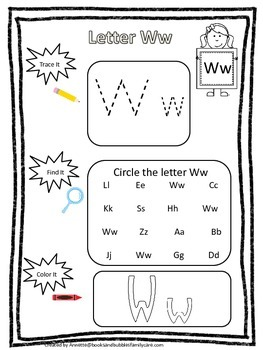 "Letter ""W"" Trace it, Find it, Color it.  Preschool printable worksheet. Daycare."