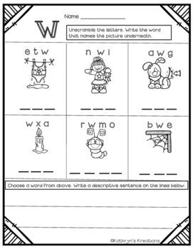 Letter W: Unscramble The Word